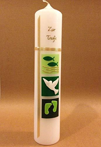 Taufkerze Mädchen Junge - in grün, Zubehör zum selbstbeschriften dabei. Verpackungskarton kann für die Aufbewahrung der Kerze später benutzt werden. Handarbeit. - 2