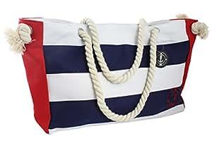 Sonia Originelli XL Strandtasche Beach Tasche Kordel groß Streifen gestreift Maritim Seil T023 (Marine)