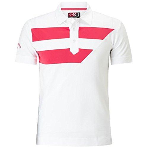 Golf Striped Polo Shirt (NEW 2017 Callaway Striped Diagonal Polo Opti-Dri Performance Mens Golf Polo Shirt Bright White XXL)