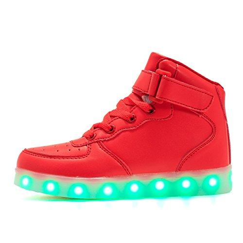 ByBetty Hoch oben USB aufladen LED Schuhe blinken Fashion high-top Sneakers für Kinder Jungen Mädchen (Größe 25- 37) (High-top Mädchen Sneakers Größe 6)
