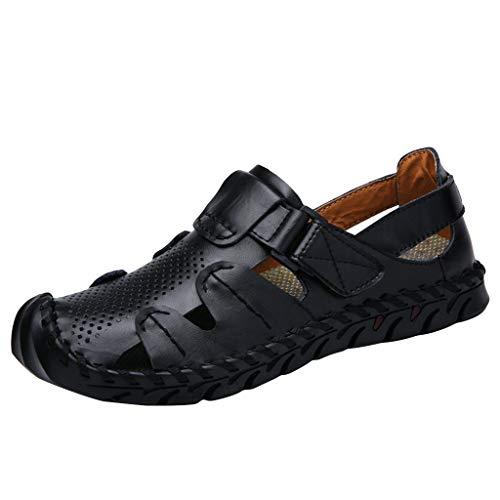 iHAZA Herren Retro Flache Schuhe Sommer Neue Hohle Einfarbige Atmungsaktive Sandalen - Leder Mesh Maultiere