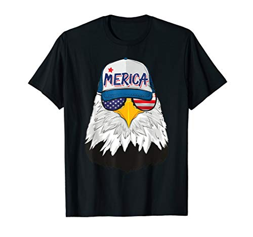 Amerikanischer Weisskopfseeadler Mit Merica Cap Sonnenbrille T-Shirt