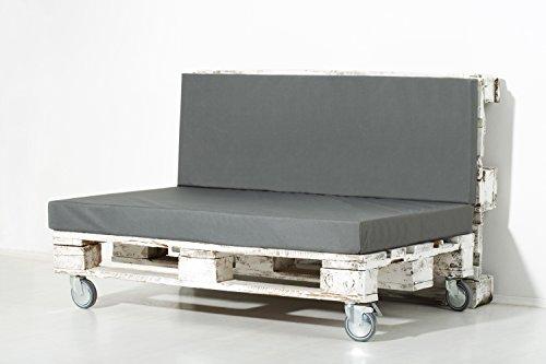 Palemare Palettenkissen Palettenpolster RG50 Nylon 120x80x15cm (Set: Sitzkissen + Rückenlehne) Indoor Outdoor Bezug Grau waschbar