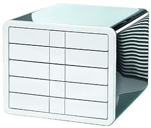 HAN 1551-33, Schubladenbox i-Box, Innovative und Designpreis ausgezeichnete Box in Premium Qualität. Mit 5 geschlossenen Schubladen, schwarz-weiß