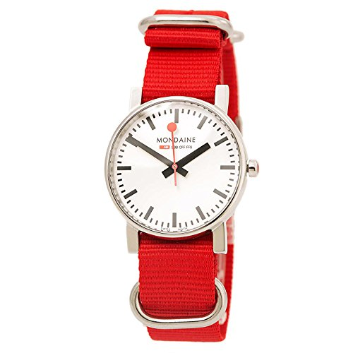 Mondaine Women's 35mm Red Nylon Band Steel Case Quartz White Dial Analog Watch A658.30300.11SNC