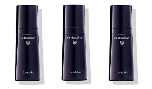 Dr.HAUSCHKA - Foundation 04 Hazelnut 3 boîtes de 30 ml, base Trattante, coprenza vivificante, hydratation et protection de la peau