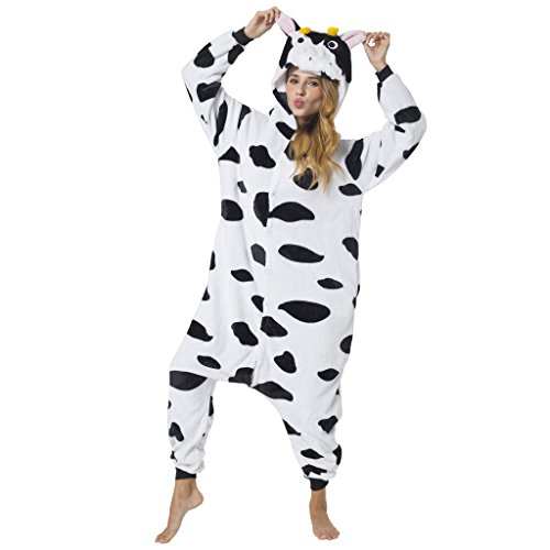 Katara 1744 - Kuh Kostüm-Anzug Onesie/Jumpsuit Einteiler Body für Erwachsene Damen Herren als Pyjama oder Schlafanzug Unisex - viele verschiedene Tiere
