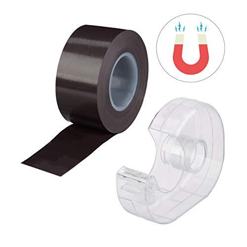 Relaxdays Magnetband 5m, mit Abroller, selbstklebendes Klebeband, Magnetstreifen, für Whiteboard & Kühlschrank, schwarz