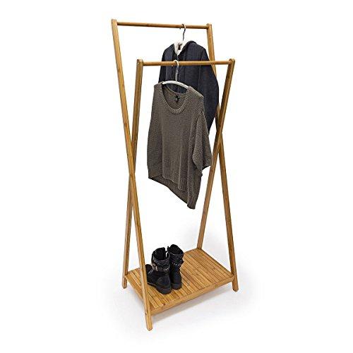 Relaxdays Kleiderständer Bambus H x B x T: 156 x 56,5 x 40 cm stabiler Garderobenständer aus Bambus mit 1 Ablagefläche im originellen gekreuzten Design als Schuhablage für Flur und Diele, natur