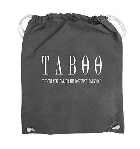 Comedy Bags - TABOO - LOGO2 - Turnbeutel - 37x46cm - Farbe: Schwarz / Silber Dunkelgrau / Weiss