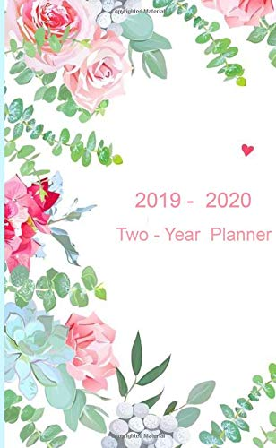 """Two- - Year Planner. 2019 - 2020: Two-Year Monthly Pocket Planner: 24-Month Calendar , Notes and Phone book, U.S. Holidays, Size : 4.0"""" x 6.5"""", Hand Lettering book ( Flowers on White )"""