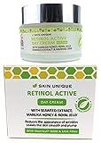 Crème de jour rétinol active 50 ml - Hydratant pour le visage anti-âge naturel et organique et remplissage des rides avec filtre UVA, miel Manuka, gelée royale et Matrixyl 3000
