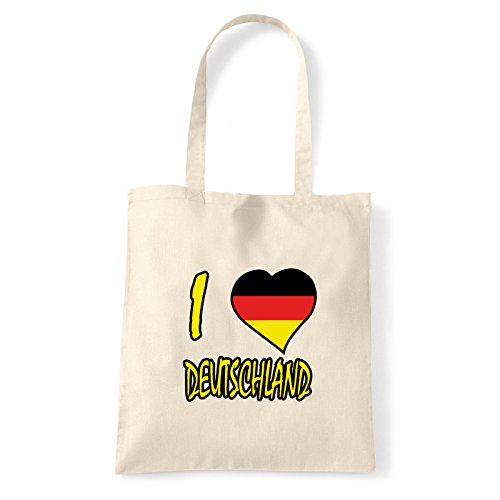 Art T-shirt, Borsa Shoulder I Love Deutschland, Shopper, Mare Natural