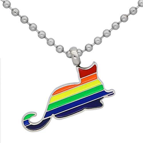 Gay Katze Mann Kostüm - DADATU Halsketten für Herren Männer Edelstahl LGBT Raibow Katze Gay Pride Halskette