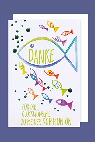 Kommunion Danksagungen Karte 5er Mehrstückpackung Fische Vielen Dank 5 Doppel Karten 15 x 11cm