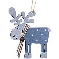 Haodou Decoración del árbol de Navidad Pintado de Madera Elk Colgante Navidad Fiesta Decoración Ciervos Colgantes