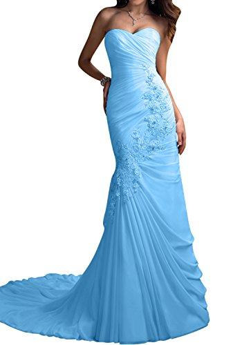 Gorgeous Bride Elegant Lang Herz-Ausschnitt Meerjungfrau Chiffon Spitze Abendkleider Brautkleider Hochzeitskleider Blau