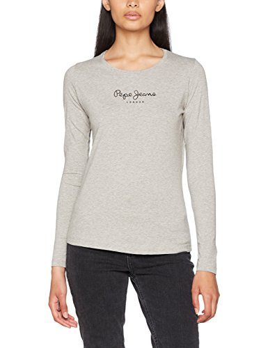 Pepe Jeans New Virginia Ls, Camiseta Para Mujer, Gris (Grey Marl), Small