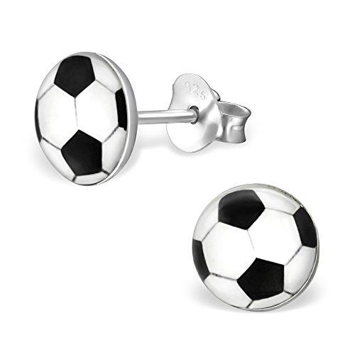 Kleine Ohrringe in Schwarz und Weiß mit Fußball-Motiv - Sterlingsilber