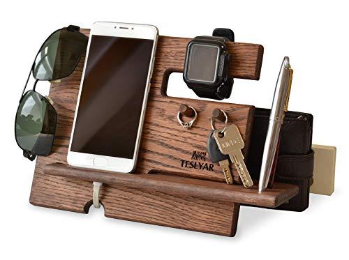 Soporte madera teléfono móvil soporte llaves organizador