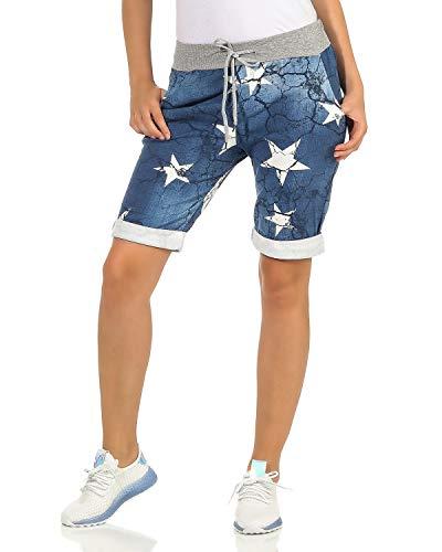 ZARMEXX Damen Shorts Capri Bermuda Boyfriend Sommerhose Sport All-Over Print One Size Muster 10 One Size (34-38) -