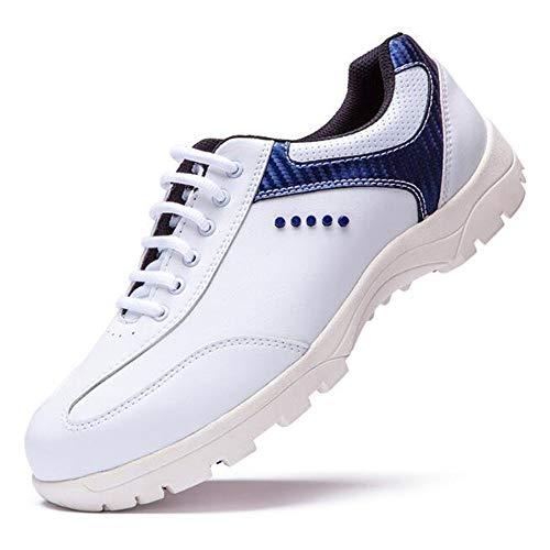 XIANGYANG Scarpe da Golf da Uomo, Scarpe da Golf in Pelle in Microfibra per Fissaggio Scarpe da Tennis,Blu,44