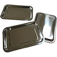 3 x Acero Inoxidable Bandeja rectangular de – 32 x 22 x 2 cm – Apilable