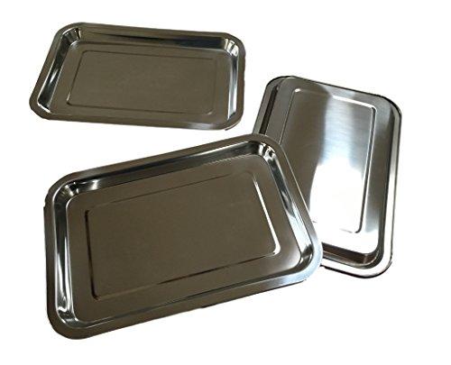 3x Edelstahl Tablett RECHTECKIG - 32x22x2cm - Stapelbar - Servierplatte / Wurstplatte / Käseplatte / Schlemmerplatte (3 Stück)