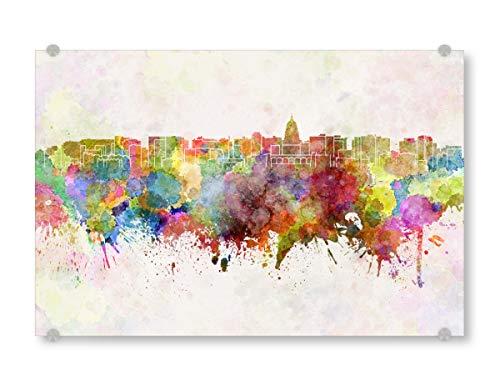 artboxONE Acrylglasbild 30x20 cm Städte Madison Skyline in Watercolor - Bild Madison Skyline Madison Wisconsin