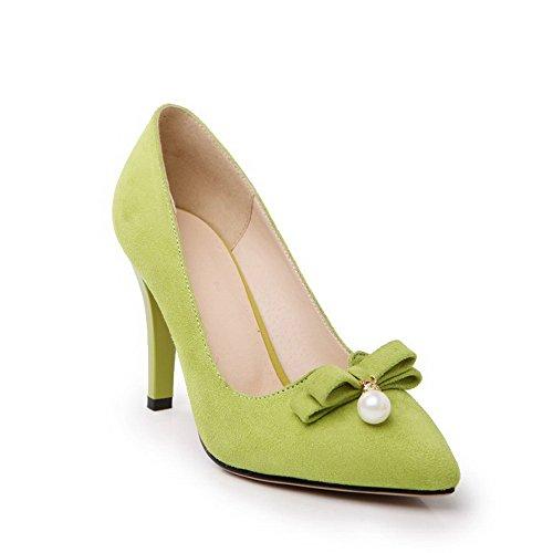 VogueZone009 Donna Plastica Scarpe A Punta Tacco A Spillo Tirare Puro Ballerine Verde chiaro