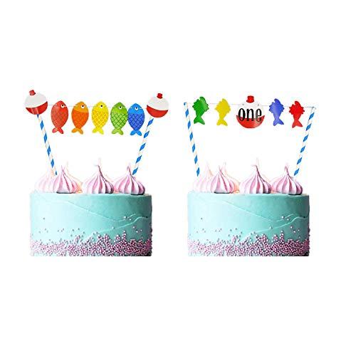 The Big One Cake Topper,1. Geburtstag Thema Angeln Party Supplies Kuchen Dekorationen, Gegangenes Fischen Bobber Cake Topper Ofishally ein 1. Geburtstag kleiner Fischer Cake Dekoration,Kuchen Banner (Kuchen Fisch Toppers)