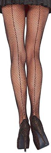 Leg Avenue Damen Netzstrumpfhose mit Naht hinten schwarz transparent Einheitsgröße ca. 36 bis 40 (Naht-netzstrumpfhose)
