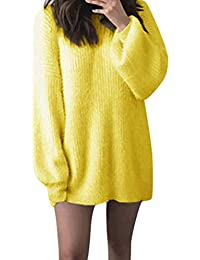 JYC-Suéter para Mujer,Mujeres de Manga Larga de Punto Jersey,Moda Mujer Sólido O-Cuello Suelto De puntoCalentar Largo Linterna Manga Suéter Blusa