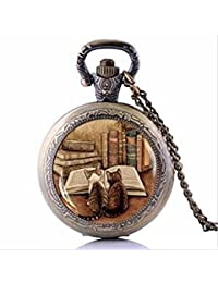 Collar de bolsillo vintage para libros y gatos, joyería para amantes del libro, regalo bibliotecario, regalo de bibliófilo