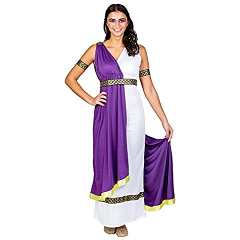 Frauenkostüm olympische Göttin Minerva | langes Kleid mit aufgenähter Schärpe und sexy Ausschnitt | Gürtel & Haarband (XXL | Nr. (Götter Göttinnen Kostüme)