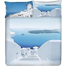 Gabel Planet Santorini completo edredón, 100% algodón, multicolor, matrimonio, 250x 205x 1cm