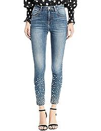 ZhiYuanAN Pantalon En Denim De La Mode Des Jeans De Perle Des Femmes Slim Fit Crayon Pantalons