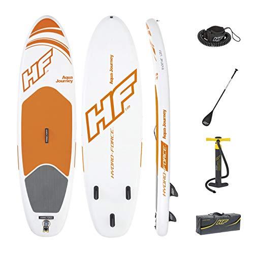 Bestway Hydro Force 65302 Aqua Journey - SUP Gonfiabile con Pagaia, Pompa e Cavigliera Integrata, 310 x 86 x 15 cm, Arancione/Bianco