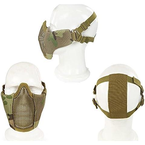 OneTigris táctica plegable máscara de media cara máscara protectora de malla para Airsoft Paintball CS con ajustable y elástica correa de cinturón, hombre, Lower Face Mask, camuflaje