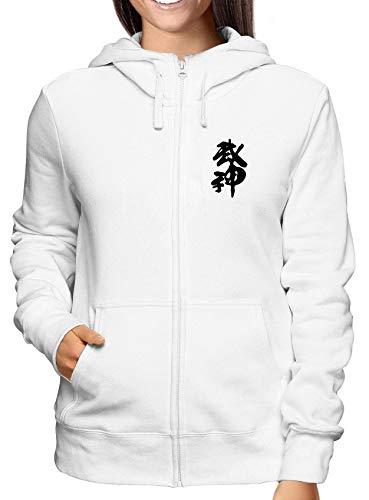T-Shirtshock Sweatshirt Damen Hoodie Zip Weiss TAM0015 BUJIN Kanji Kanji-zip Hoodie