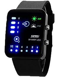 ufengke® mode rechteck zifferblatt binäre led wasserdicht handgelenk armbanduhren,einzigartige nachtlicht sport armbanduhren für mannfrauen,schwarz