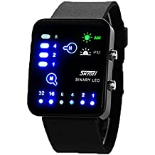 ufengke® rectángulo dial de la manera binaria llevó reloj de pulsera muñeca a prueba de agua,único reloj de pulsera deportes luz de la noche para los hombres de las mujeres,negro