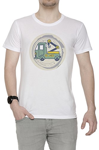 37 Met Uomo T-shirt Bianco Cotone Girocollo Maniche Corte White Men's T-shirt