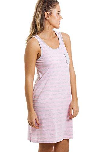 Chemise de nuit - sans manches/longueur genou - à rayures - gris et rose Rose