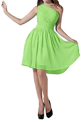 Gorgeous Bride Schlicht Ein-Traeger A-Linie Chiffon Knielang Brautjungfernkleid Cocktailkleid Partykleid Grün