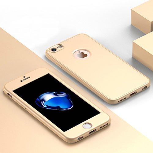 """HICASER iPhone 7 / iPhone 8 360 Grad Hülle + Panzerglas, Komplettschutz Vorder und Rückseiten Schutz Schale Ganzkörper-Koffer Soft TPU Schutzhülle für iPhone 7 / iPhone 8 4.7"""" Rot Gold"""