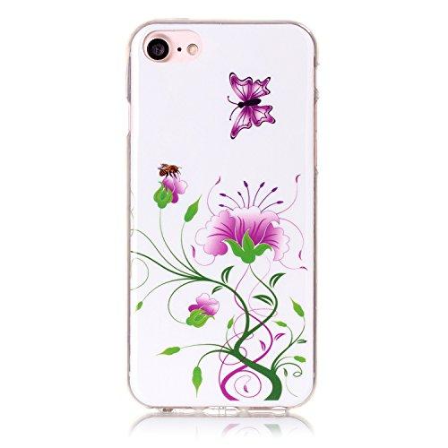 Voguecase® für Apple iPhone 7 Plus 5.5 hülle, Schutzhülle / Case / Cover / Hülle / TPU Gel Skin (Kassette 02) + Gratis Universal Eingabestift Lila Schmetterling 03
