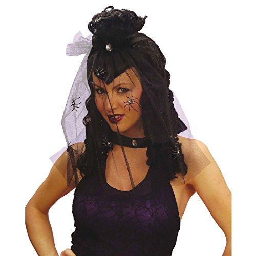 een Perücke mit Schleier und Strassspinne Hexe Faschingsperücke Gothic Vampir Damenperücke Schwarze Witwe Halloweenperücke Spinnen Kunsthaar (Schwarze Witwe Perücke Für Erwachsene)