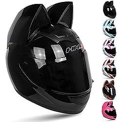 Wwtoukui Casco De Moto Personalizado con Oreja De Gato,Hombres Adultos Y Mujeres Ideas De Moda Motocicleta Carreras Motocicleta Casco Completo,Casco Estándar ECE/Dot,Negro,M