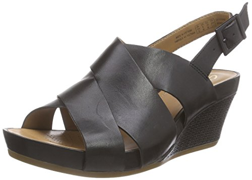 Clarks Rusty Rizz, Damen Slingback Sandalen, Schwarz (Black Leather), 38 EU (5 Damen UK)